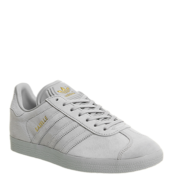 5b44082b52df Adidas Gazelle Trainers LIGHT GREY GOLD EXCLUSIVE Trainers Shoes