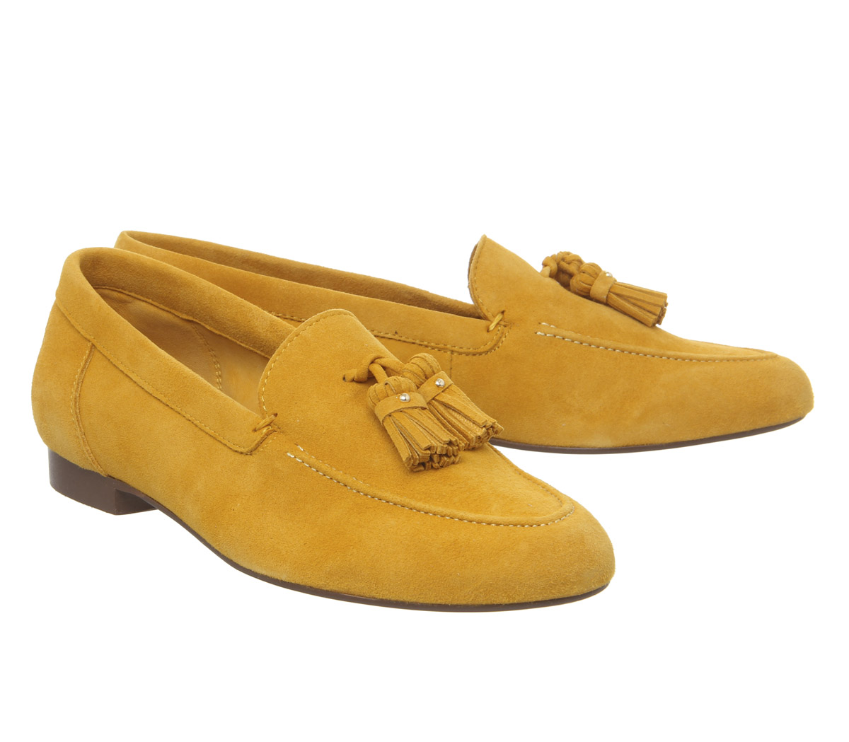 1f5982273b5 Womens Office Retro Tassel Loafers Yellow Suede 2 Flats