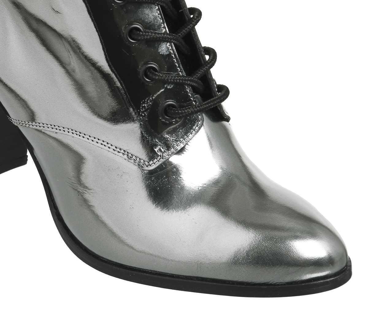 Lace Up Attitude Office Metallic Pewter Block Boots Heel Womens RvZqaPzP