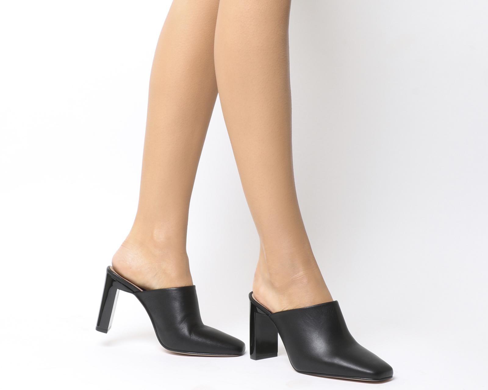 Dettagli su Donna Office Machine Pantofole con a Spruzzo Tacco Nero pelle  Tacchi 67afb90d659