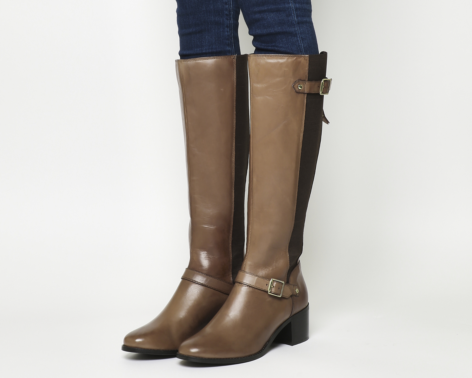 nuovo stile 6d6ed 89de4 Dettagli su Donna office Kestrel Tacco Medio Stivali da Equitazione pelle  Marrone Stivali