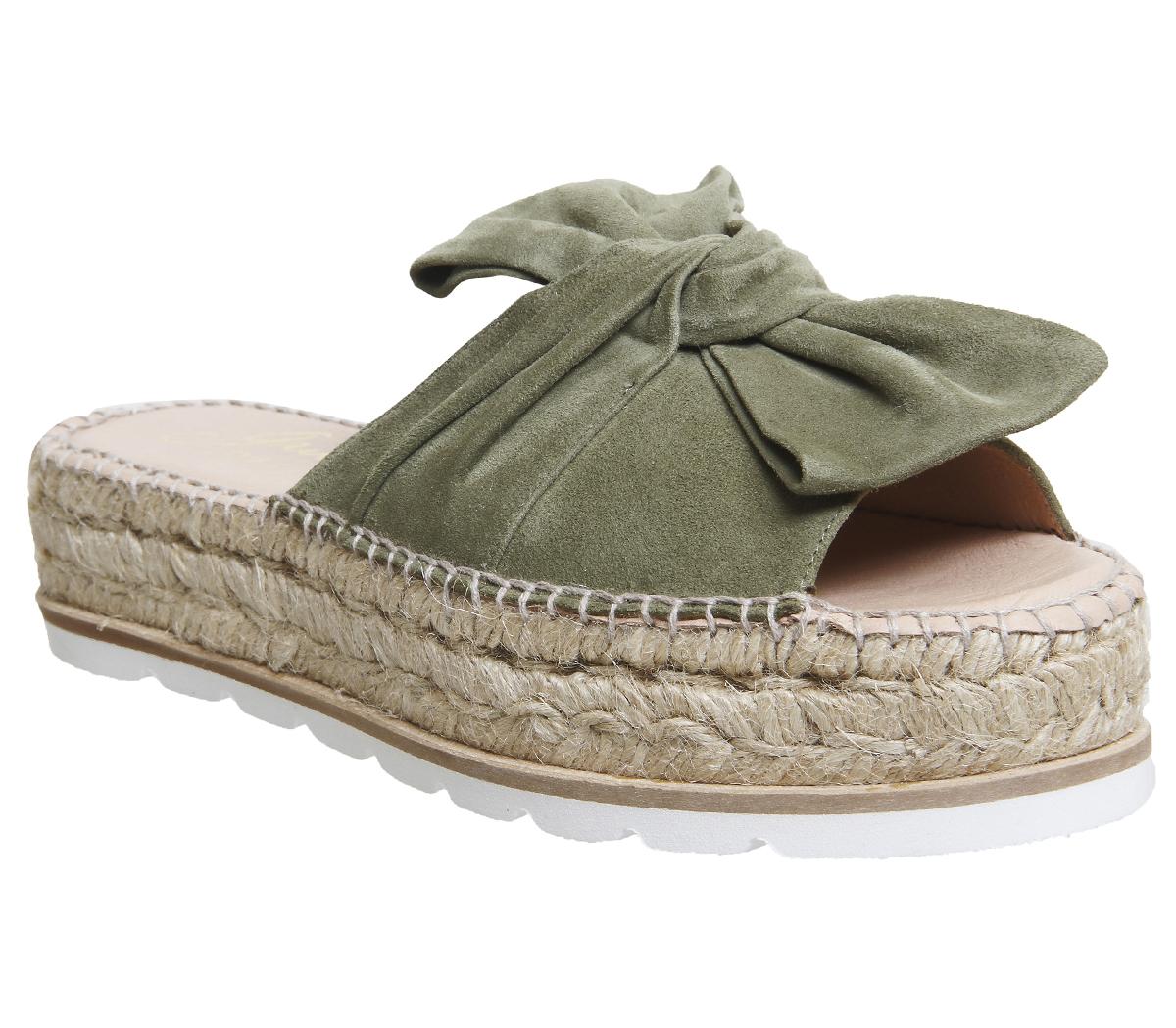 8a16c05ecedc Sentinel Womens Gaimo For Office Samanta Bow Flatform Sandals Khaki Suede  Heels