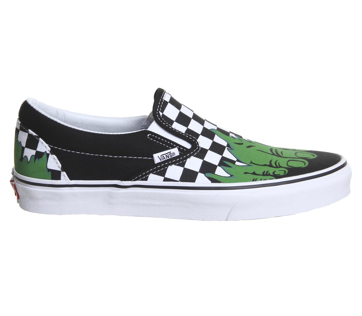 ... Para mujer Vans Vans Clásico Slip Ons Hulk de tablero de Ajedrez de  Marvel Tenis Zapatos ... 6d8bd4ee58c