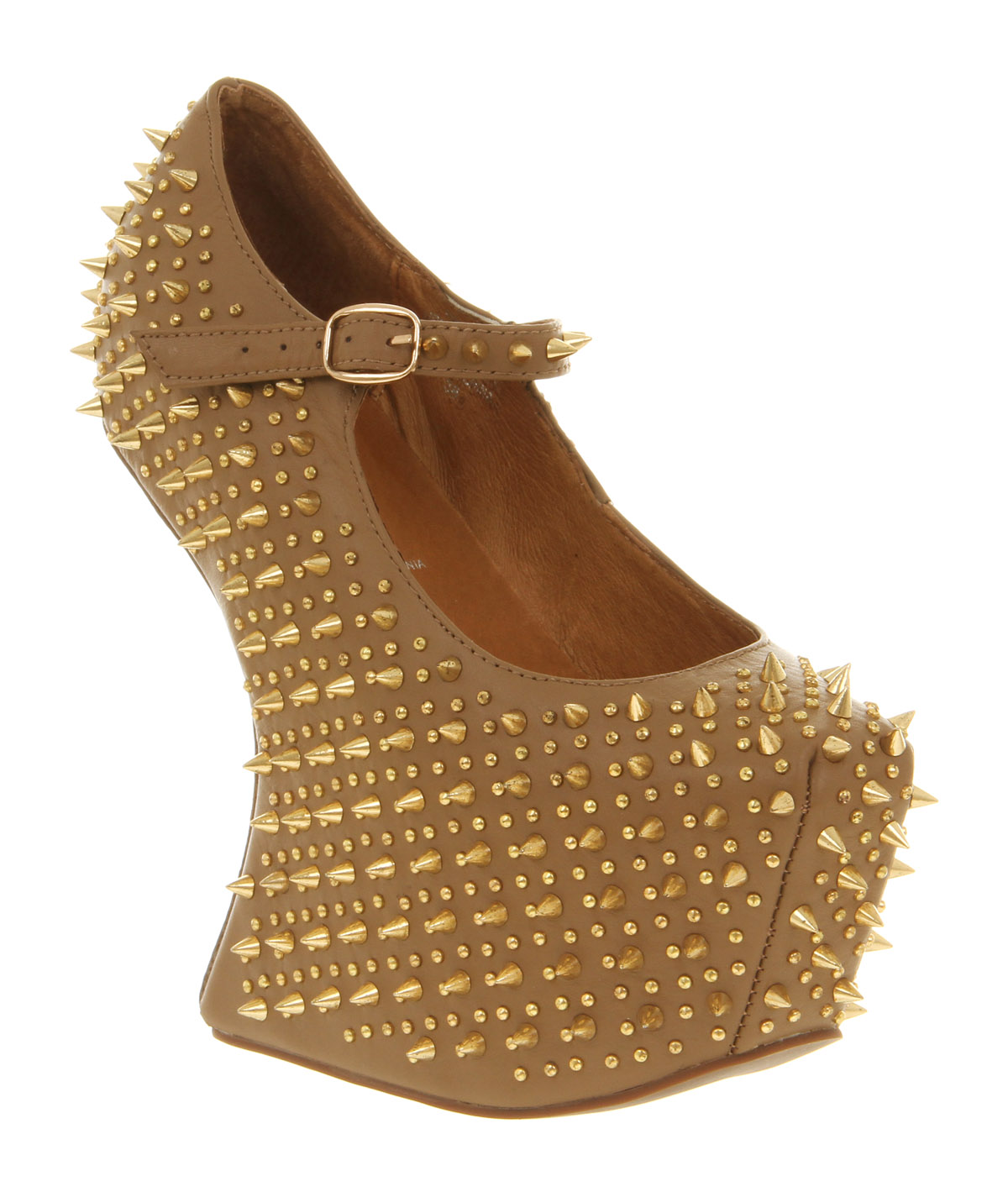 d0c19416a69 Womens Jeffrey Campbell Prickly Wedge Taupe Leather Gold Spike Heels ...