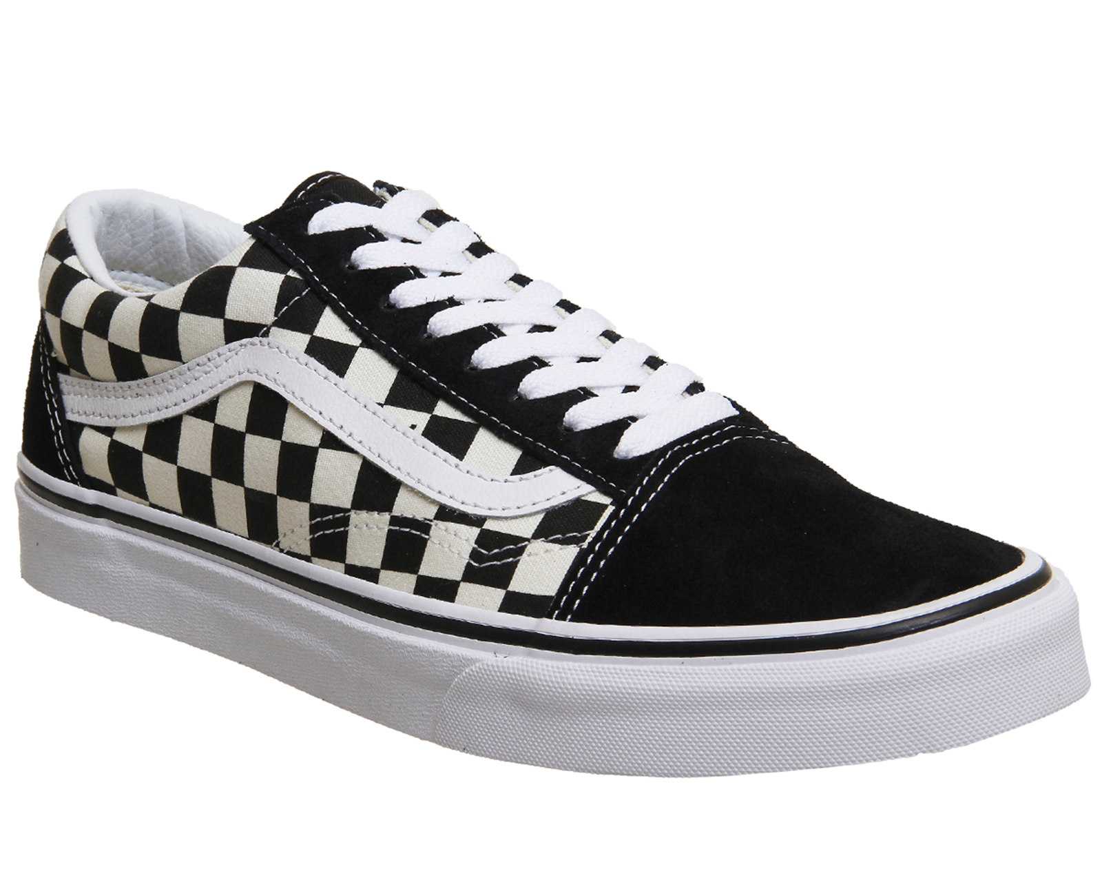 vans black & white old skool primary check trainers