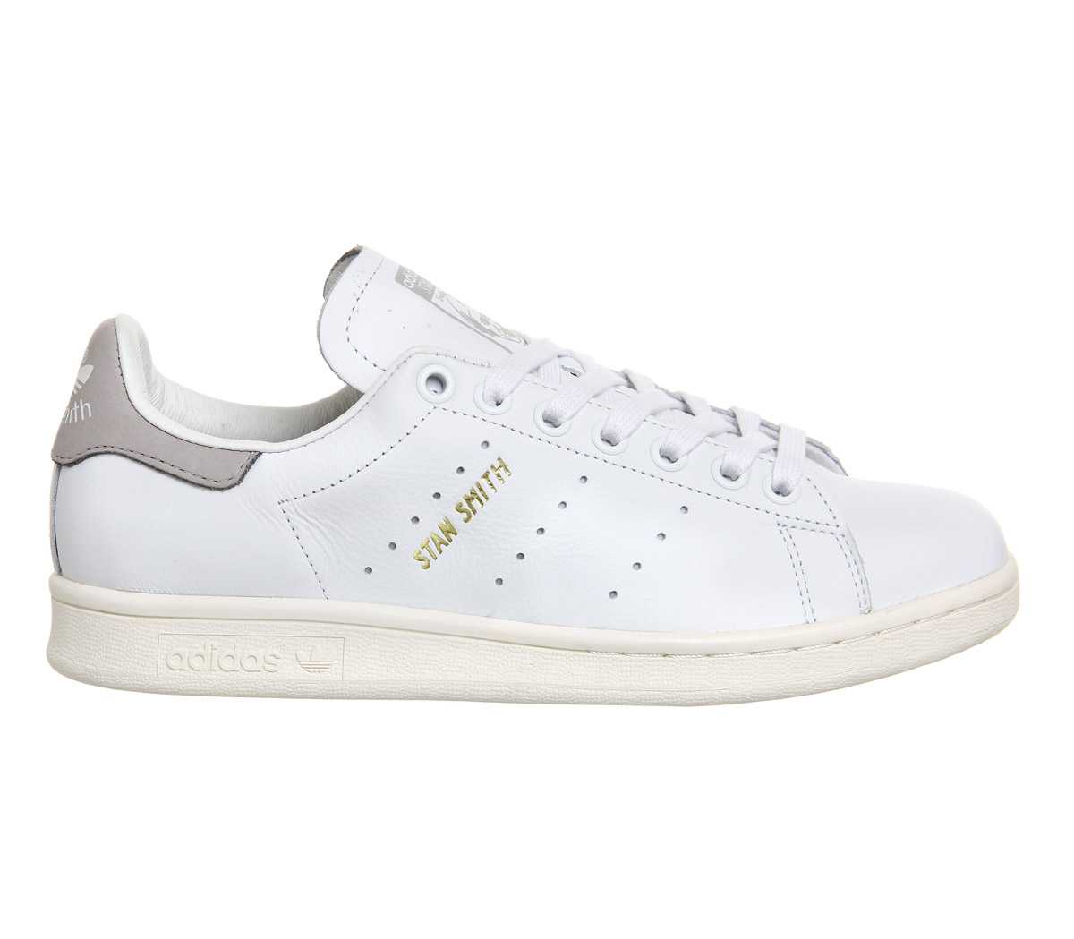 adidas white & grey stan smith trainers