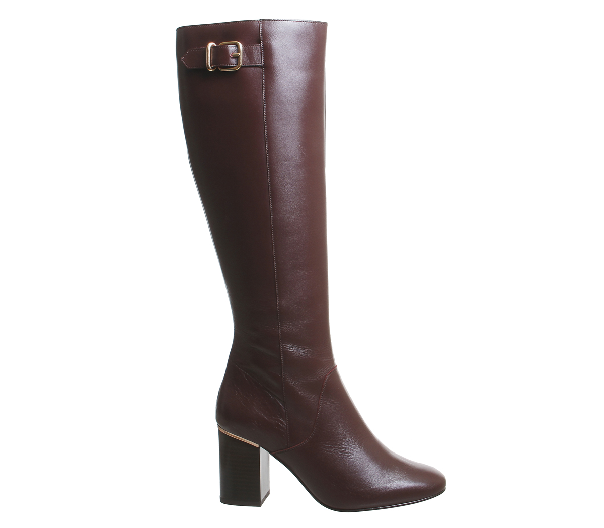 Damens Office Keepers Stiefel Smart Block Heel Knee Stiefel Keepers BURGUNDY LEATHER Stiefel 1ebdc3