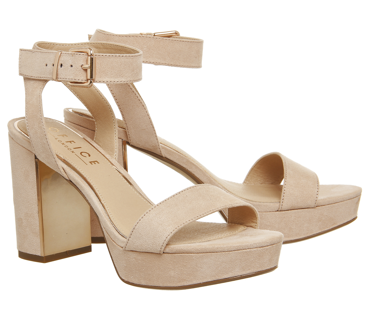 fc6f884e129 Sentinel Womens Office Mossy Platform Sandals NUDE WITH ROSE GOLD PALTE  Heels