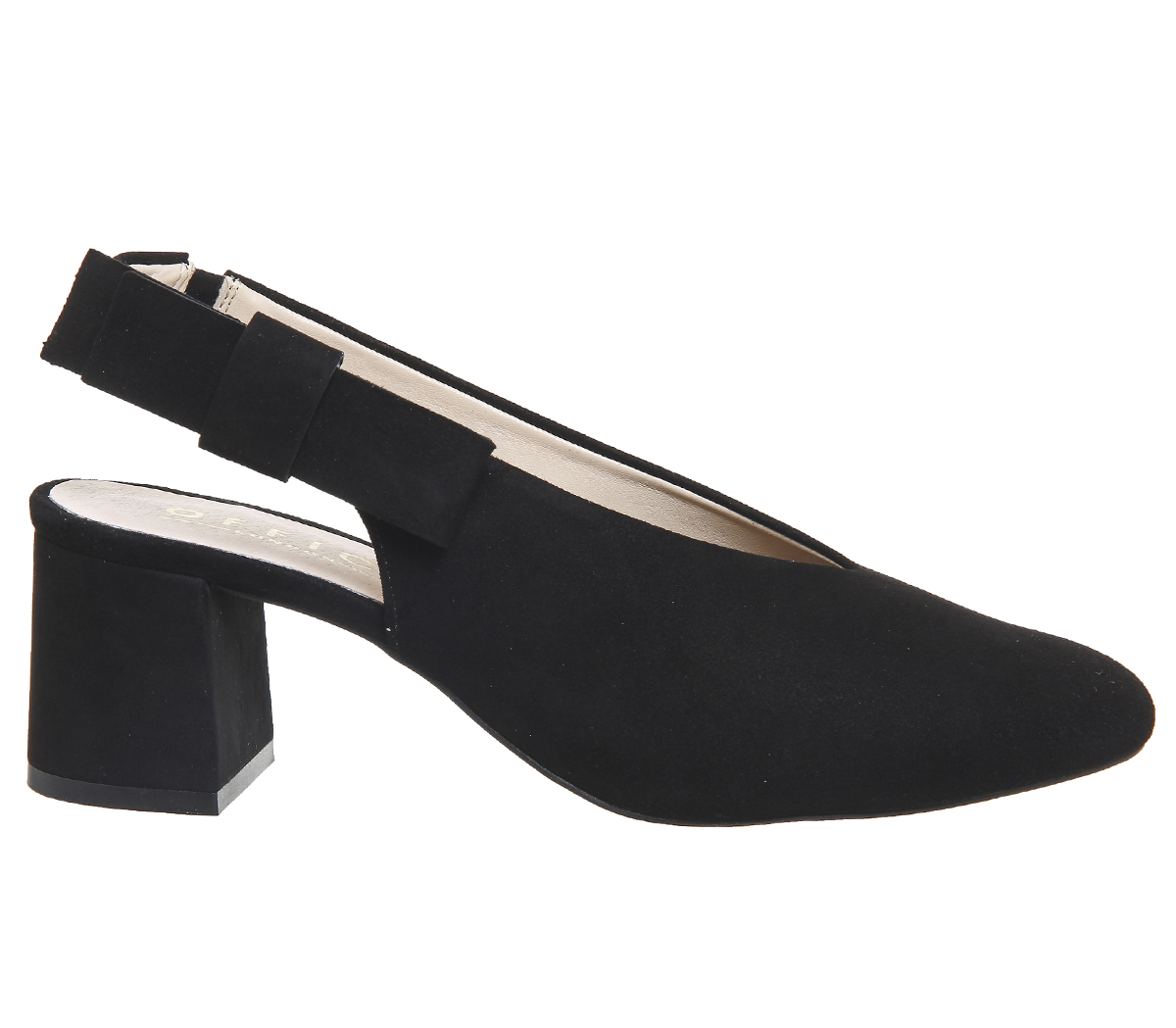 Womens-Office-Magical-Bow-Slingback-Heels-Black-Suede-Heels thumbnail 5