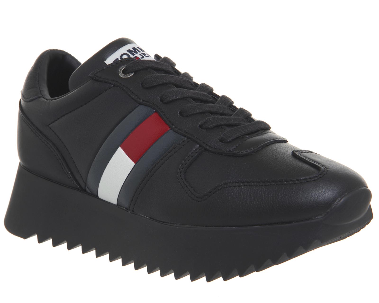 f0498caf630 Detalles de Zapatillas Para Mujer Tommy Hilfiger Alto Cleated Negro Rojo  Blanco Zapatillas Zapatos- ver título original