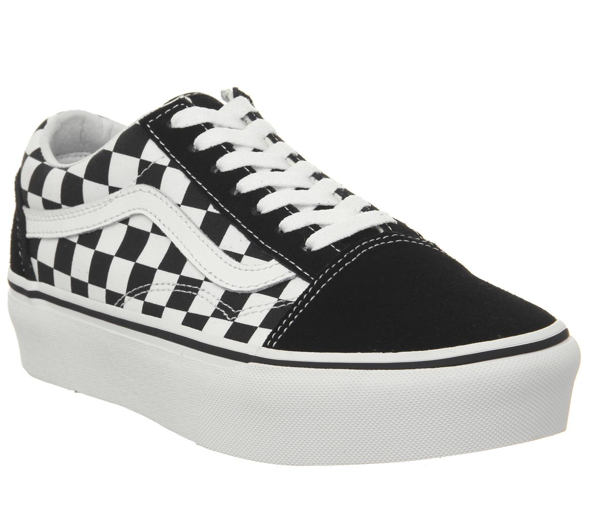 5b216c98fd1 Sentinel Womens Vans Old Skool Platform Trainers Black Checkerboard True  White Trainers S