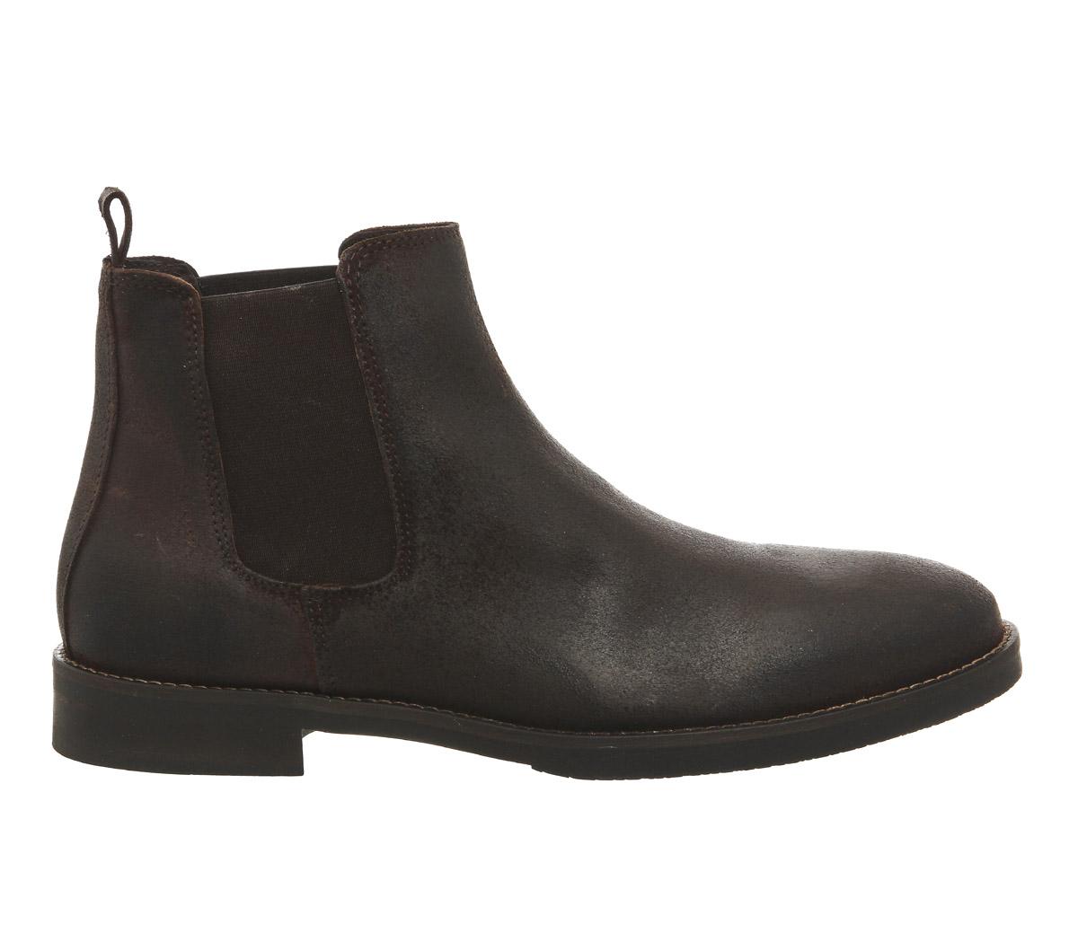 hommes-Office-Cage-bottes-chelsea-marron-cuir-cire-bottes