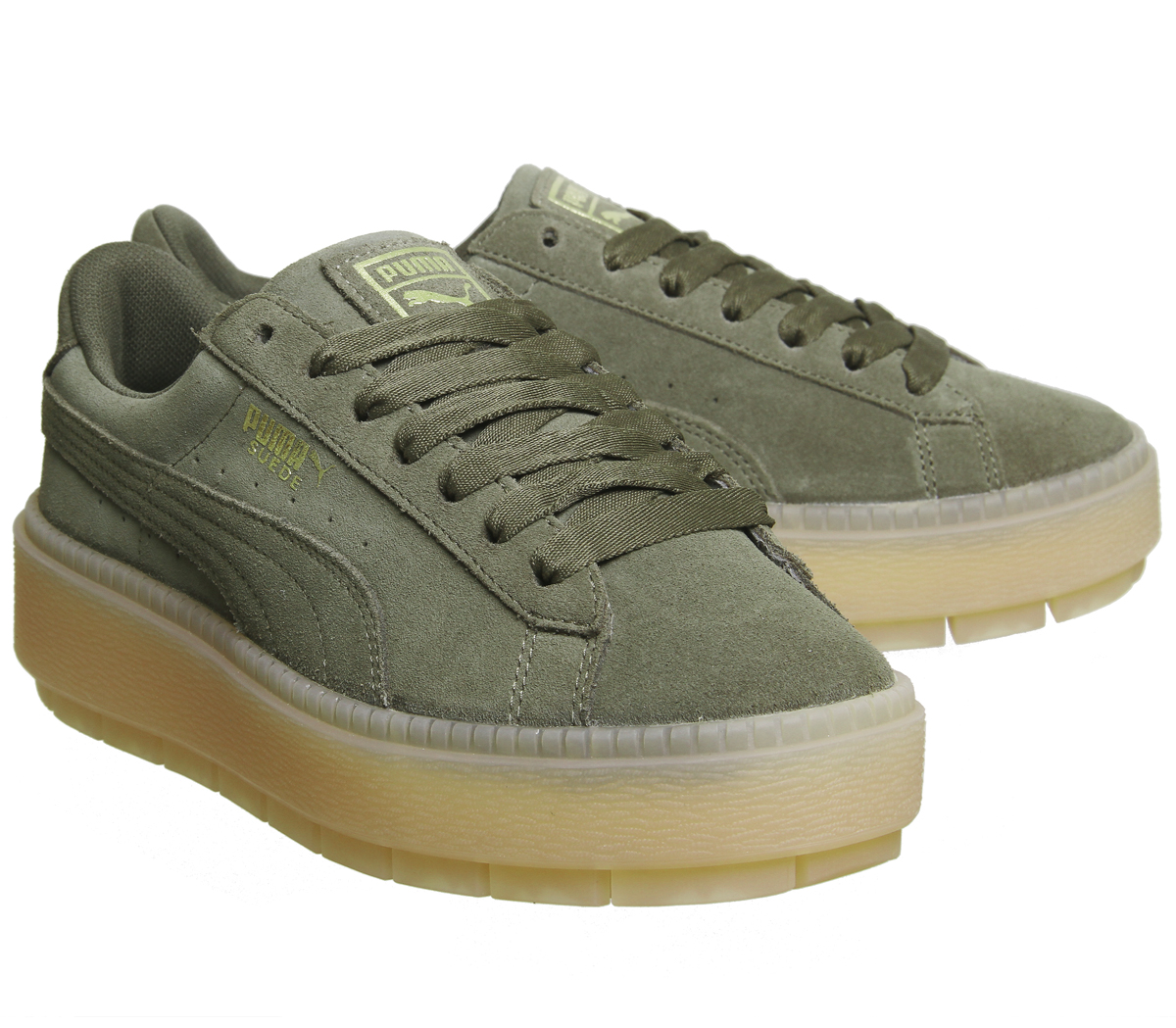 6ca93f877bf2 Womens Puma Suede Platform Trace Trainers OLIVE NIGHT VELVET ROPE ...
