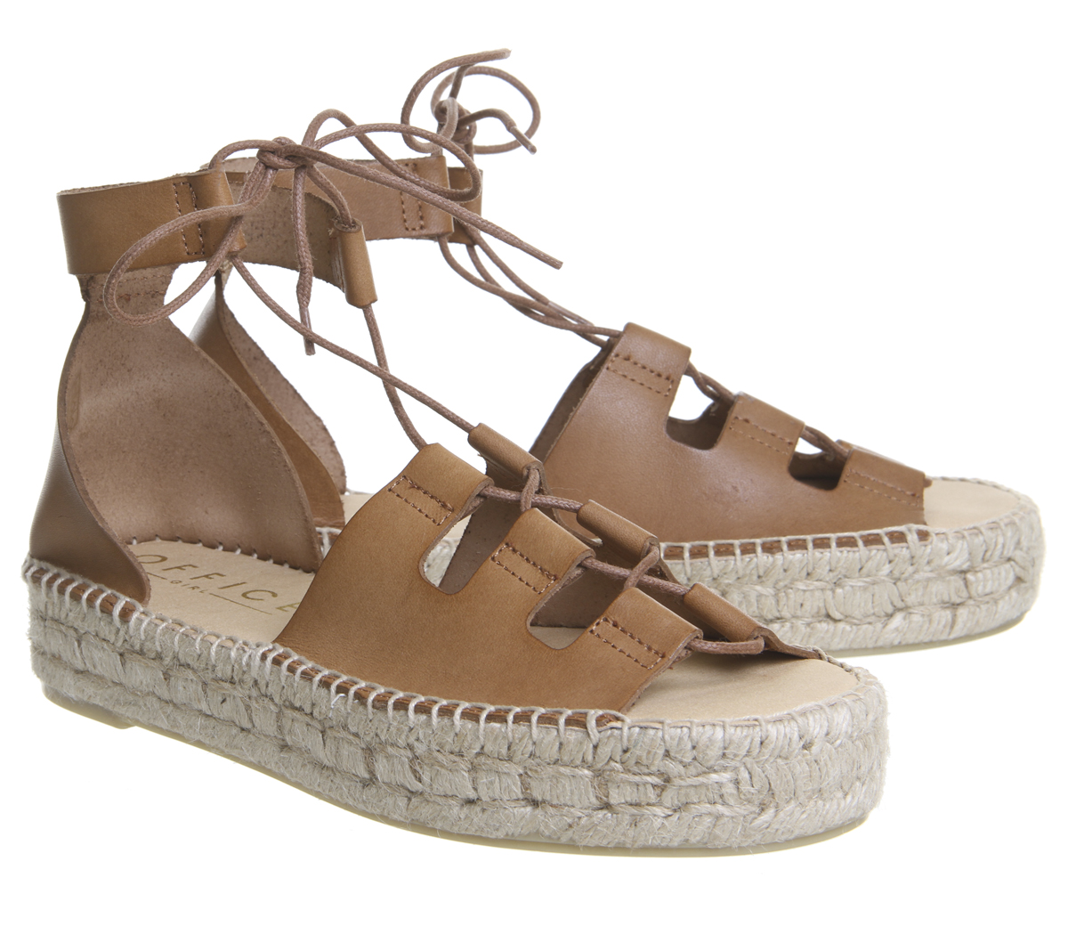 Espadrilles Office Womens Leather Ghillie Heels Seattle Tan pRwwqZt