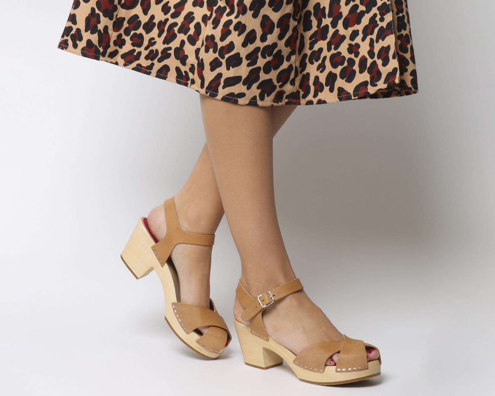 af89375488b Sentinel Womens Swedish Hasbeens Mirja Mid Heel Sandals Nature Heels