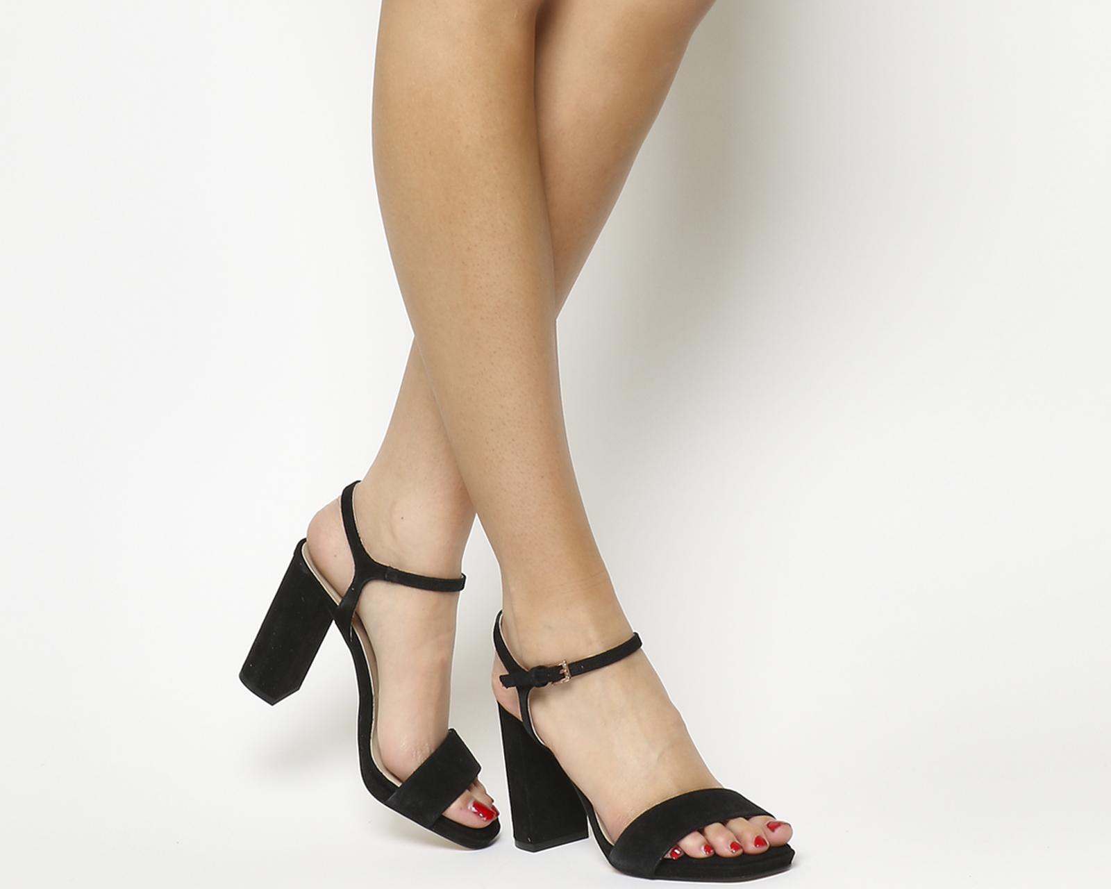 4e7f469114e Sentinel Womens Office Hazzard Slim Platform Sandals Black Suede Heels