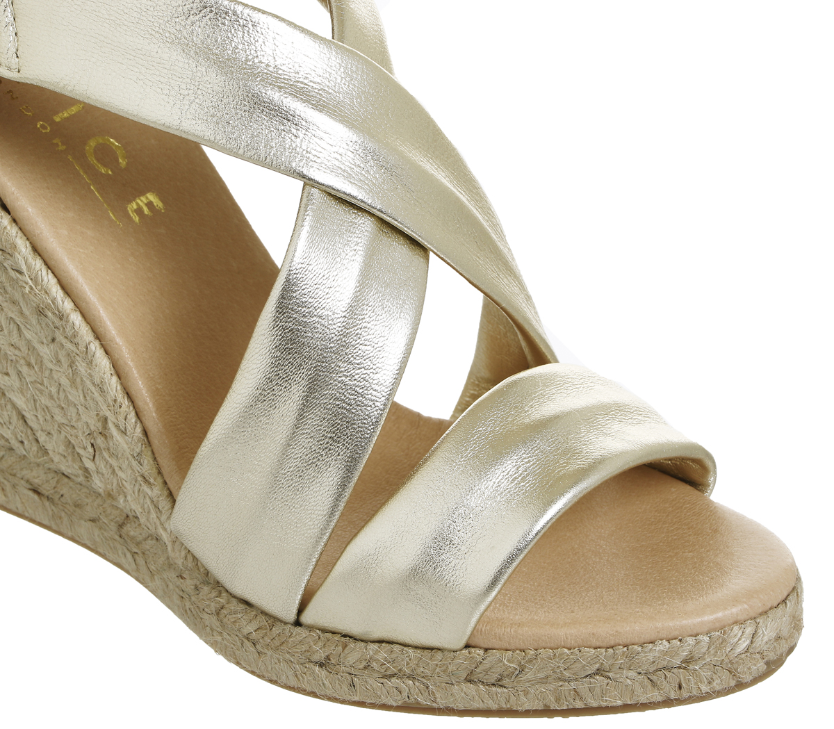 Womens Office Holiday Cross Front Espadrille Wedges gold Leather Leather Leather Heels 34385f