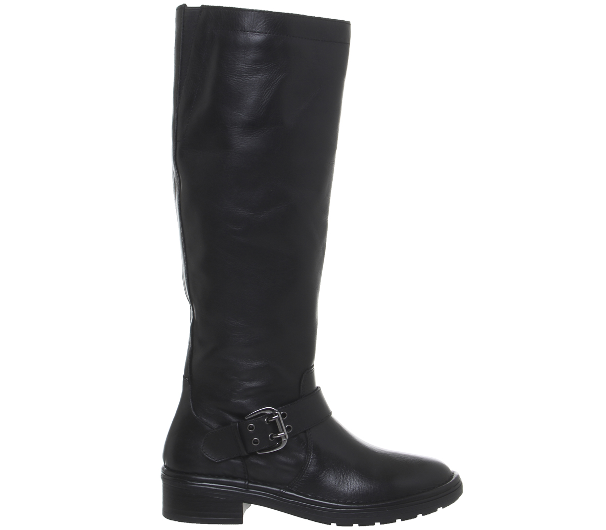 Office Casual Buckle Womens Boots pelle Kelly nera in Knee fqEF7d