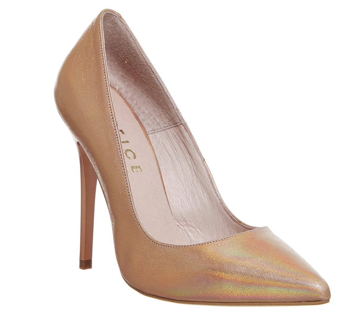 Mujer-Office-a-Punto-Zapatillas-Oro-Rosa-Metalizado-Tacones