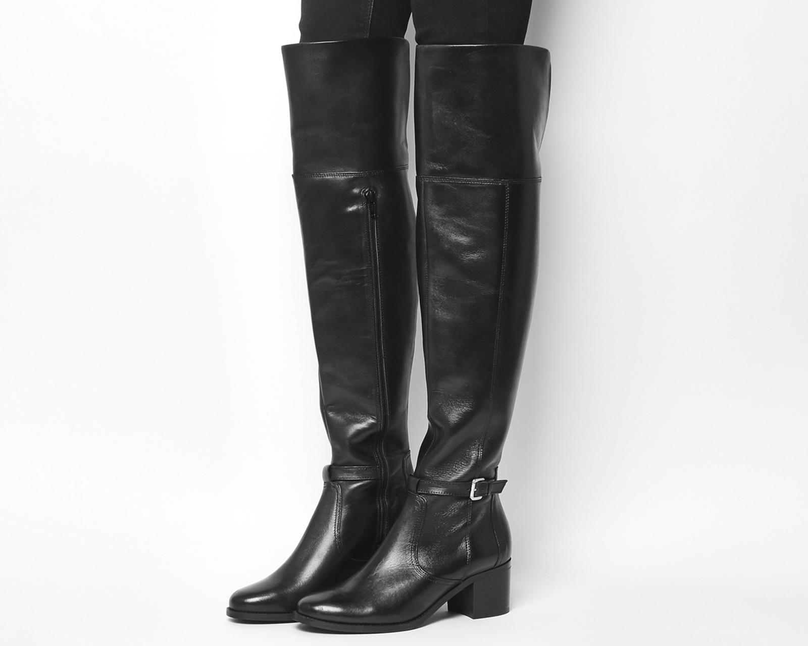 5bad55e9d14 Sentinel Womens Office Kacey Over The Knee Riding Boots Black Leather Boots