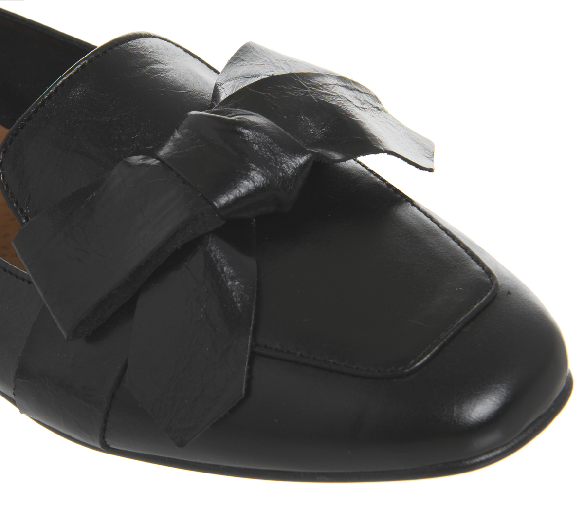 Womens Office Friend Square Toe Bow Loafers BLACK Flats LEATHER Flats BLACK 592b87