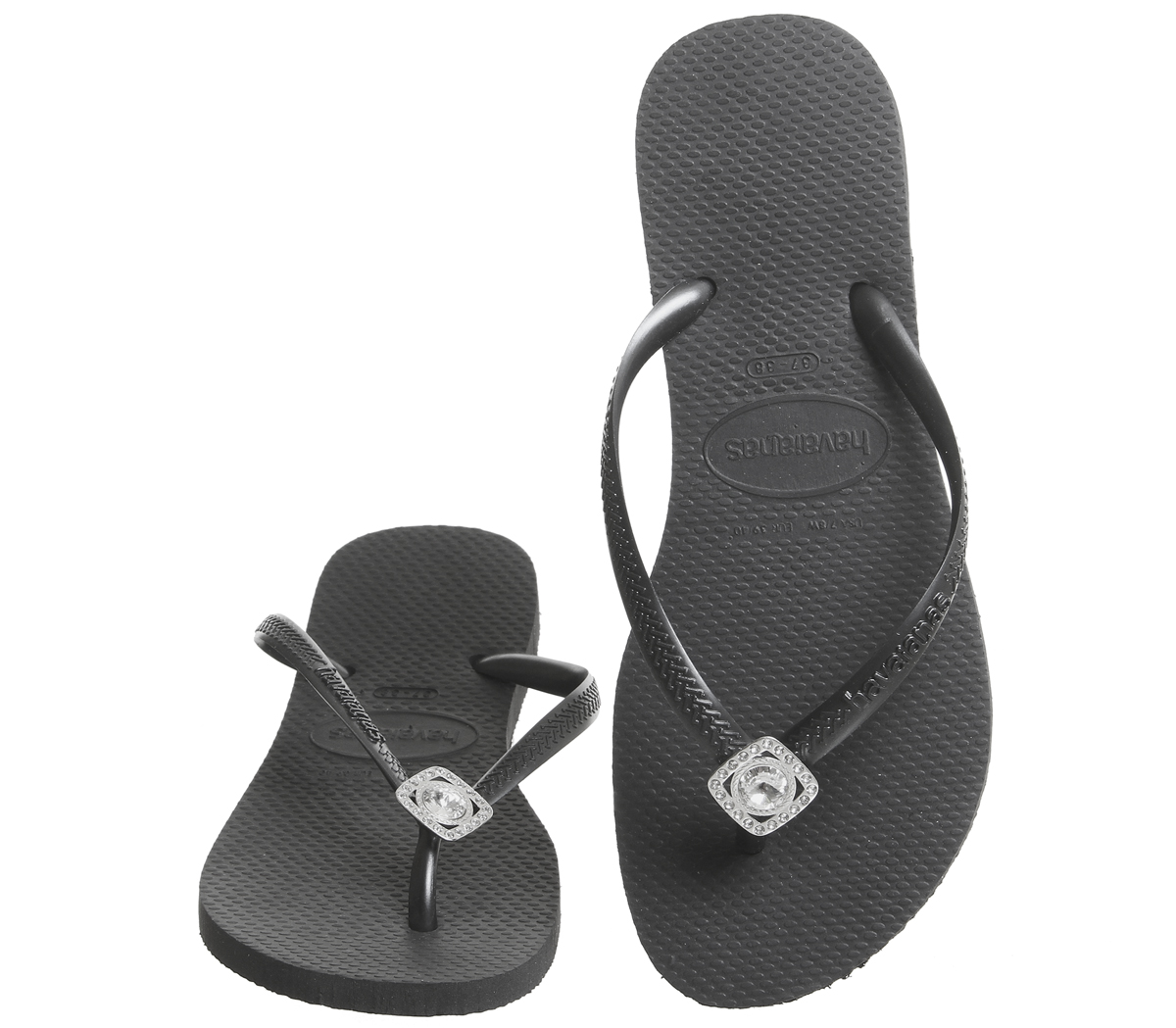 63b2fc51970f Womens Havaianas Slim Crystal Poem Flip Flops Black Sandals