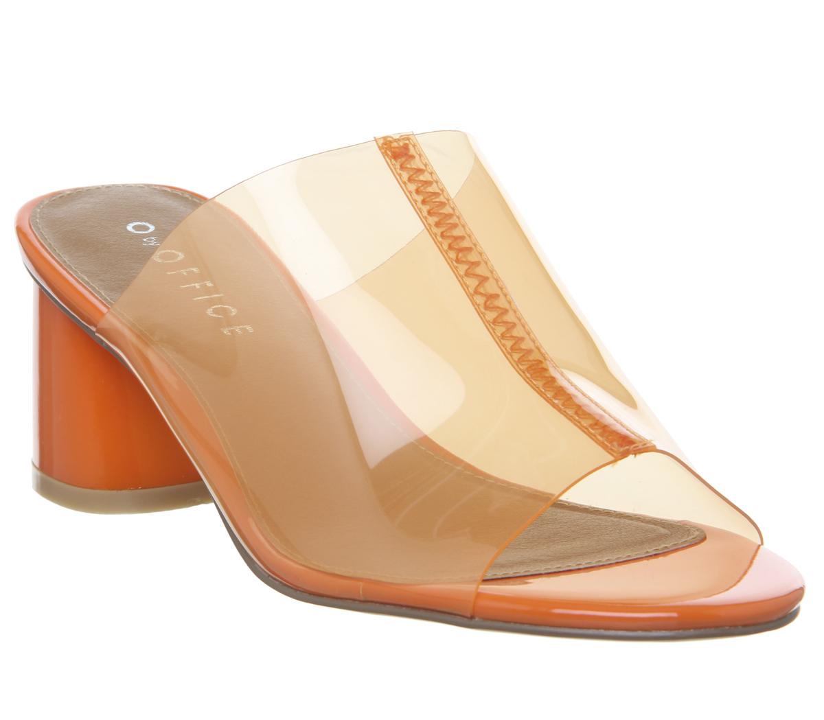 54fc08c6479 Sentinel Womens Office Message Feature Heel Mules Clear Orange Heels
