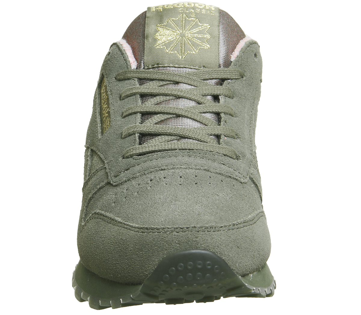 2decf29c3de Womens Reebok Cl Leather Trainers Hunter Green Pink Trainers Shoes ...