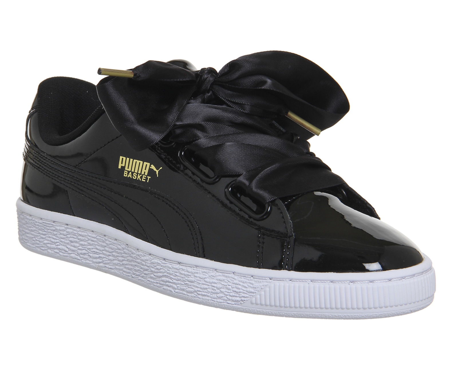 7e3f21db6542 Sentinel Womens Puma Basket Heart Trainers Black Patent Trainers Shoes