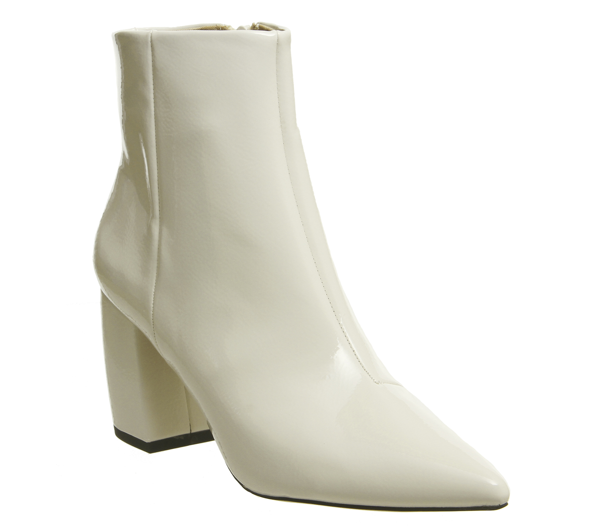 Womens Office Aloud Point Block Heel Boots White Patent Boots  8ced49cb2d52