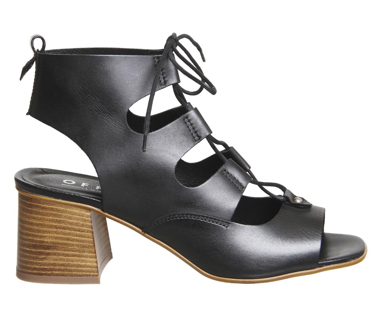 566ff4e8b26 Sentinel Womens Office Mallorca Ghillie Block Heels Black Leather Heels