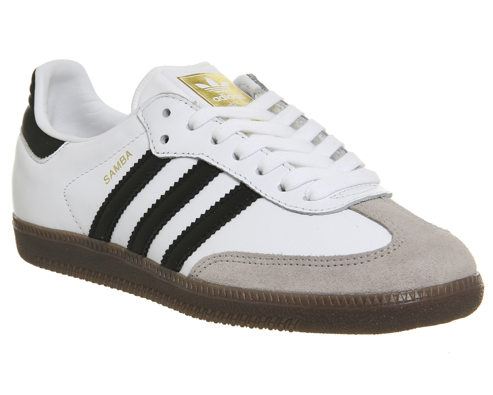 d999a05d3 Sentinel Adidas Samba WHITE BLACK LEATHER OG Trainers Shoes