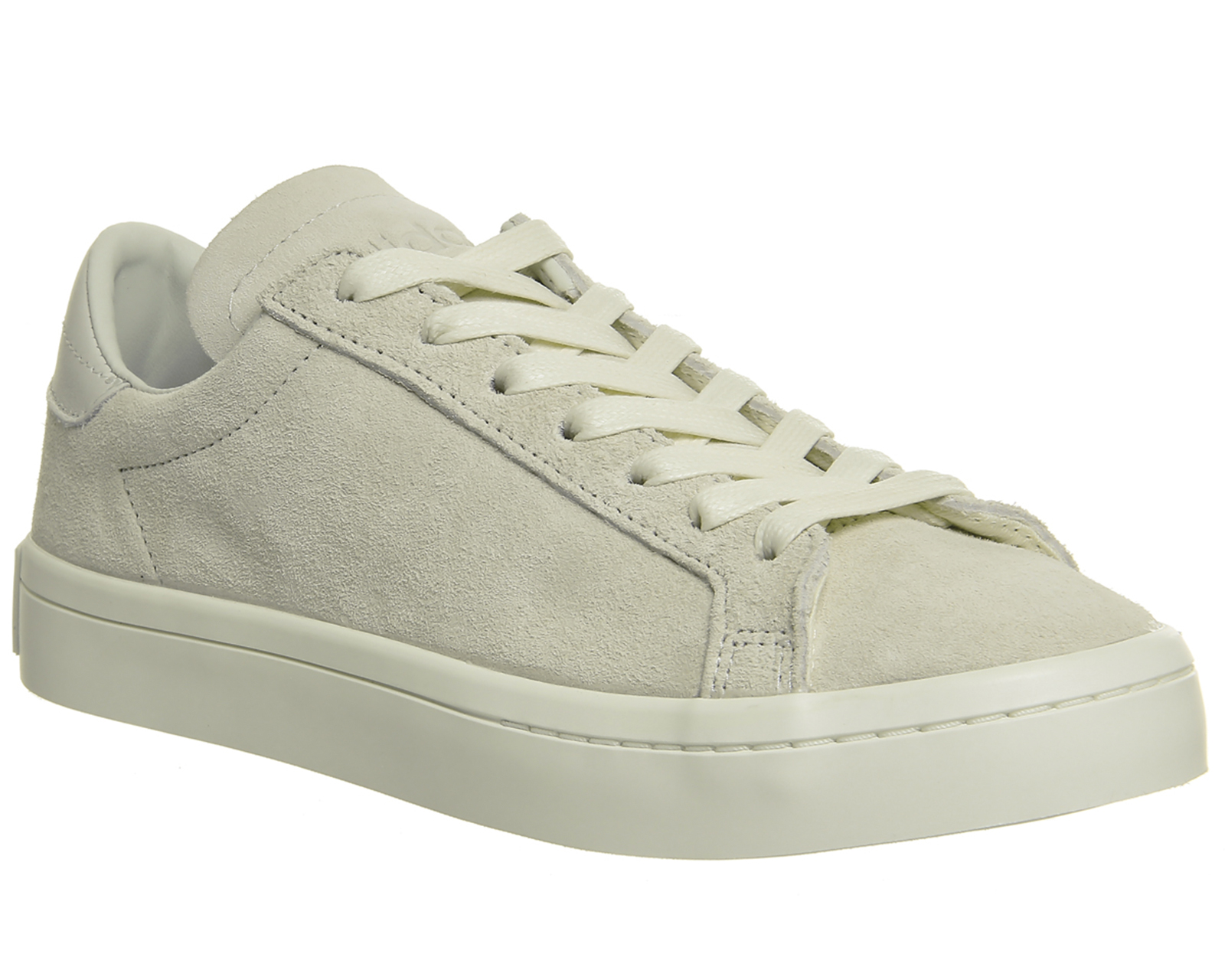 low priced f69fd 12bdc Sentinel Mens Adidas Court Vantage Trainers WHITE MONO SUEDE Trainers Shoes