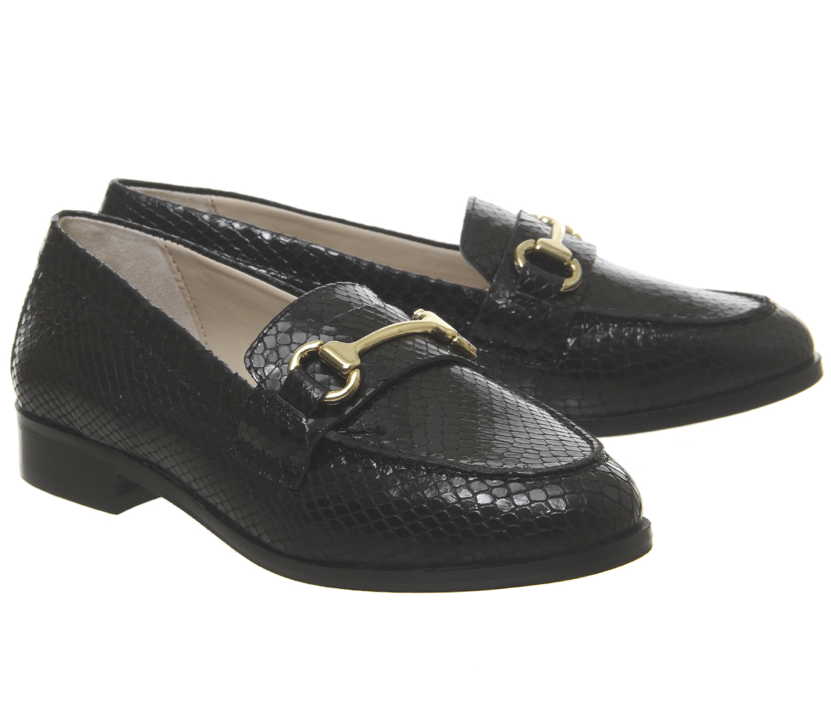 ea877c44345d6 SENTINELLE Womens bureau émoi mocassins serpent noir cuir Flats