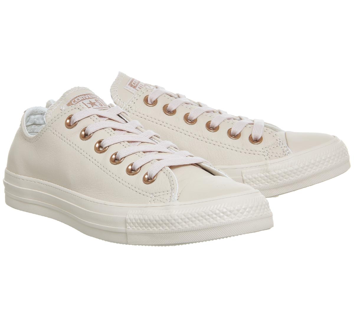Damenschuhe Converse All Star Niedrig Leder PASTEL TAN ROSE TAN PASTEL ROSE GOLD Trainers Schuhes 295350
