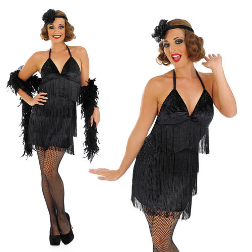 Top Ladies Sexy Black Flapper Fancy Dress Costume 20S Charleston  WI81