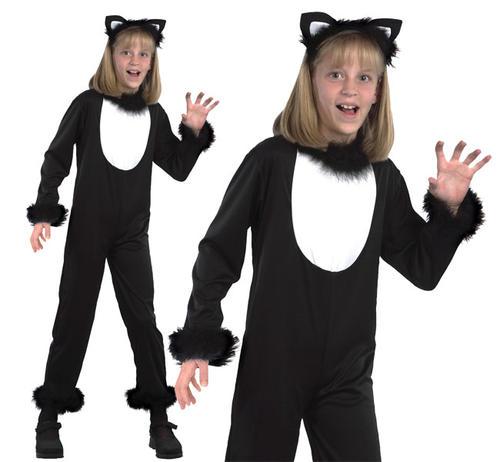 Childrens-Black-Cat-Fancy-Dress-Costume-Witch-Halloween-  sc 1 st  eBay & Childrens Black Cat Fancy Dress Costume Witch Halloween Outfit Kids ...