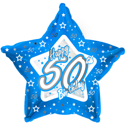 "18"" Star Age 50 Happy Birthday Balloon 50Th Party Celebration Decoration Blue"