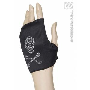 Black Fingerless Glove With Skull Detail Punk Rocker Hells Angel Fancy Dress
