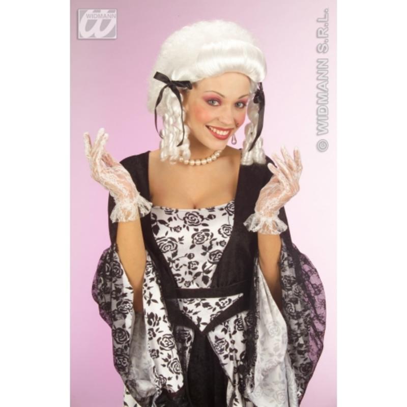 Short 25cm Ladies White  Lace Gloves Wedding Tudor Fancy Dress