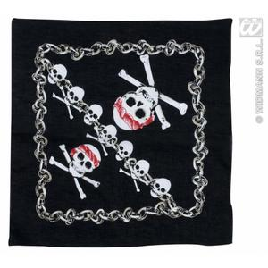 Black Pirate Bandana With Skull Skeleton Detail 55cm x 55cm Hells Angel