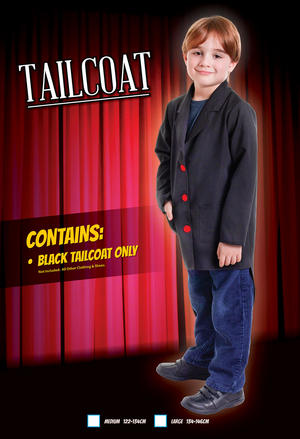 Childrens Black Tailcoat Medium 122-134Cm Circus Halloween Fancy Dress Costume