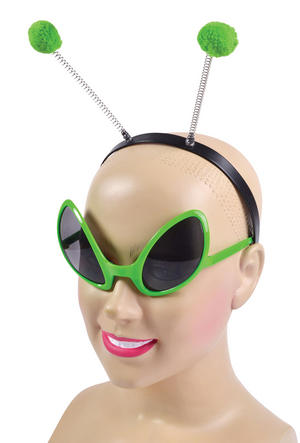 Alien Glasses And Headband Set Ufo Space Out Of This World Fancy Dress Accessor