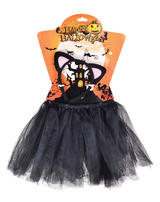 Childrens Black Cat Outfit Witches Halloween Fancy Dress Costume Tutu & Ears