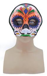 Orange Skull Face Mask Circus Carnival Halloween Fancy Dress Accessory