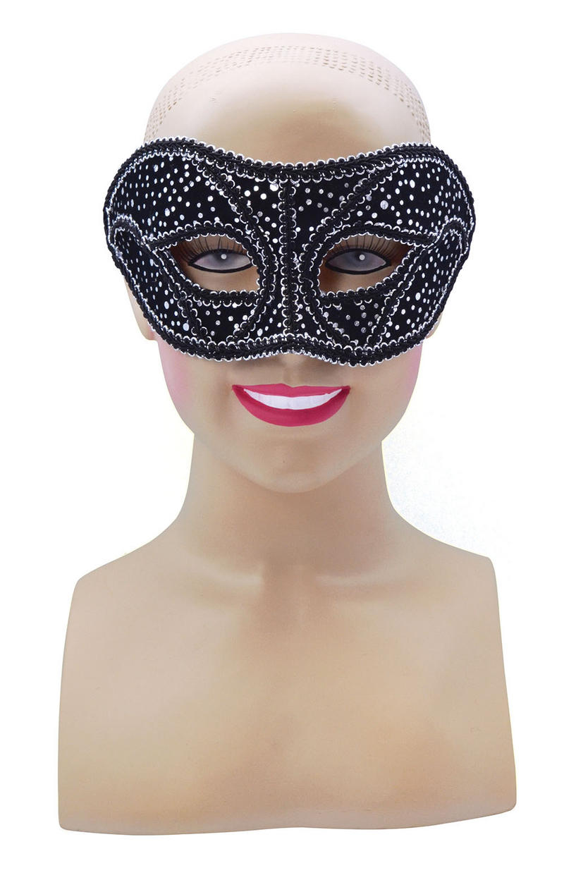 Black Silver Spotted Face Mask Masquerade Party Halloween Fancy Dress Accessory