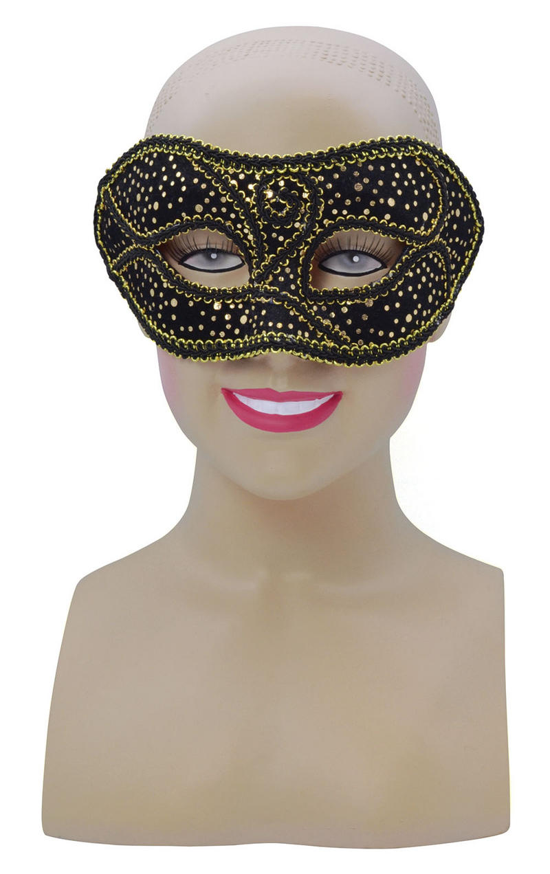 Black Gold Spotted Mask Masquerade Party Halloween Fancy Dress Accessory