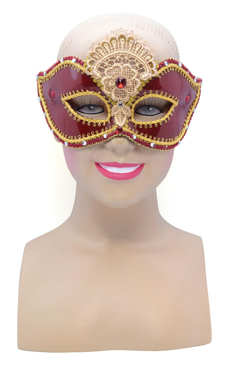 Gold Red Shiny Face Mask Masquerade Party Halloween Fancy Dress Accessory