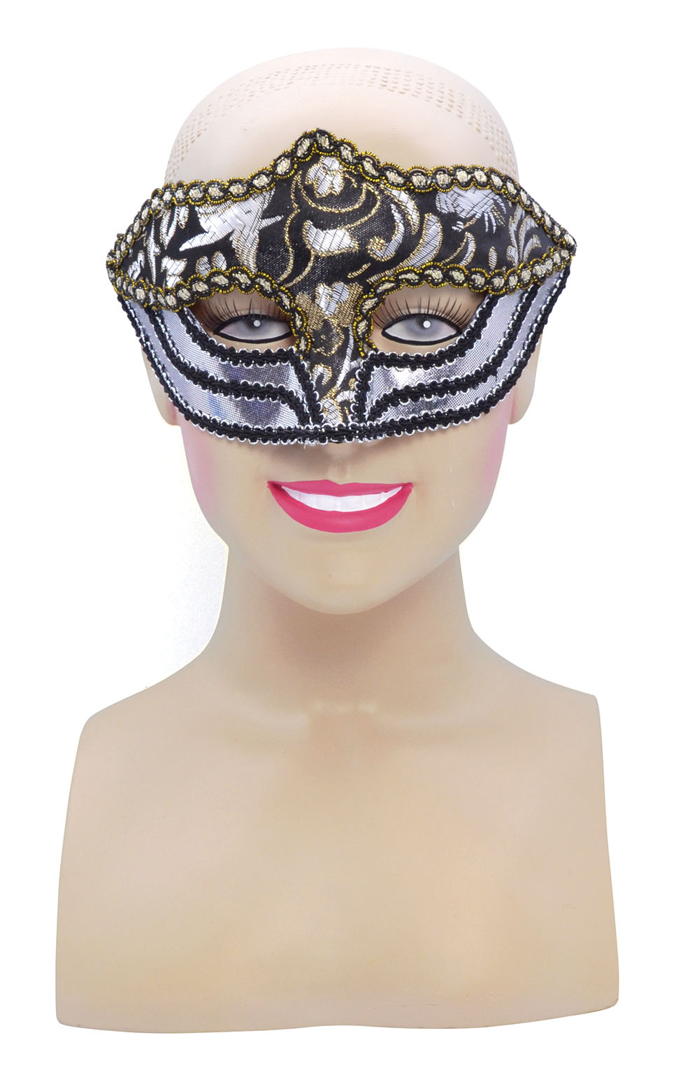 Silver Gold Patterned Face Mask Masquerade Halloween Fancy Dress Accessory