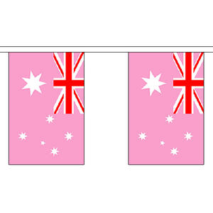 "Australia Australian Pink Bunting 3m Long With 10 Flags 9""x6"" Party Decoration"